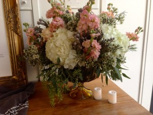 Beautiful flowers greet guests as they enter the reception.
