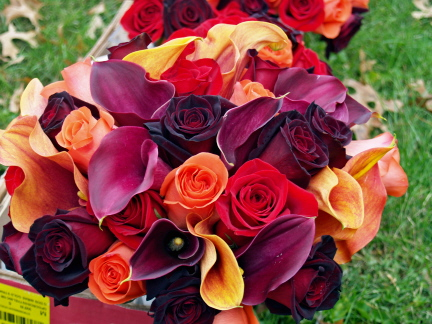 Her bridal bouquet consisted of plum calla lilies mango calla lilies