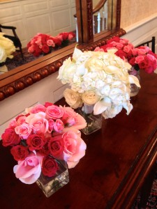 Beautiful bouquets for the wedding party.