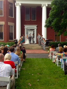 Ceremony on the front porch.