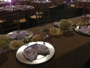 A fun napkin fold and personalized place cards added to the decor.