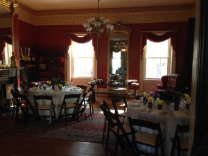 Inside the house provided areas for a few tables and food/drink in the dining room.  Guests explored the history of the home.