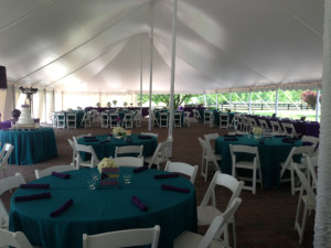 Tented reception for dinner and dancing.