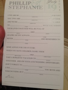 """I loved these """"advice cards"""" guests filled out in lieu of a guest book."""