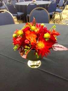 The short pieces added a light color to the red mixture of flowers.